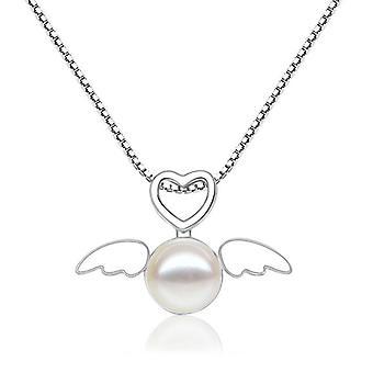 Collier pendentif cœur et perle pour femmes, chaîne de couleur argent avec ailes d'ange, bijoux de fête à la mode