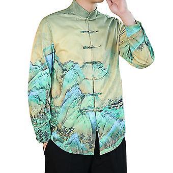 Mile Men's Long-sleeved Shirt, Chinese Style Landscape Painting, Shirt Uniform Long Sleeved Coat Tops