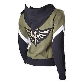 Nintendo Legend of Zelda Female Royal Crest Full Length Zip Hoodie, Medium, Green/Black (HD250619NTN-M)
