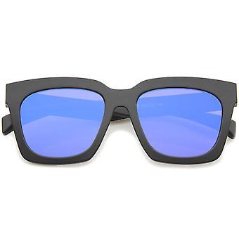 Retro Matte hoorn omrande gekleurde spiegel Flat Lens Oversize Square zonnebril 54mm