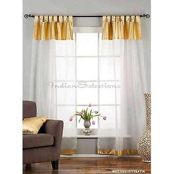 White with Gold Satin Tab Top Sheer Tissue Curtain / Drape / Panel-84