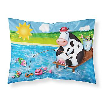 Cow Fishing off of a Pier Fabric Standard Pillowcase