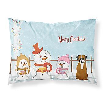 Merry Christmas Carolers Flashy Fawn Boxer Fabric Standard Pillowcase