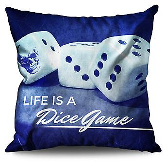 Dice Skull Game Bet Linen Cushion 30cm x 30cm | Wellcoda
