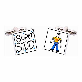 Super Stud Cufflinks by Sonia Spencer, in Presentation Gift Box. Hand painted