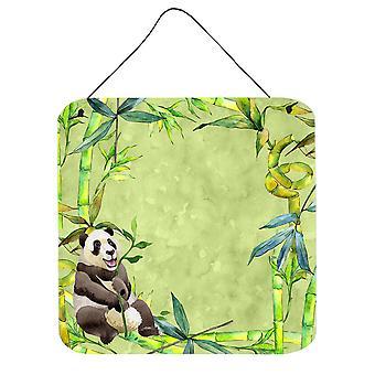 دب الباندا والخيزران الجدار أو الباب معلقة بطباعة