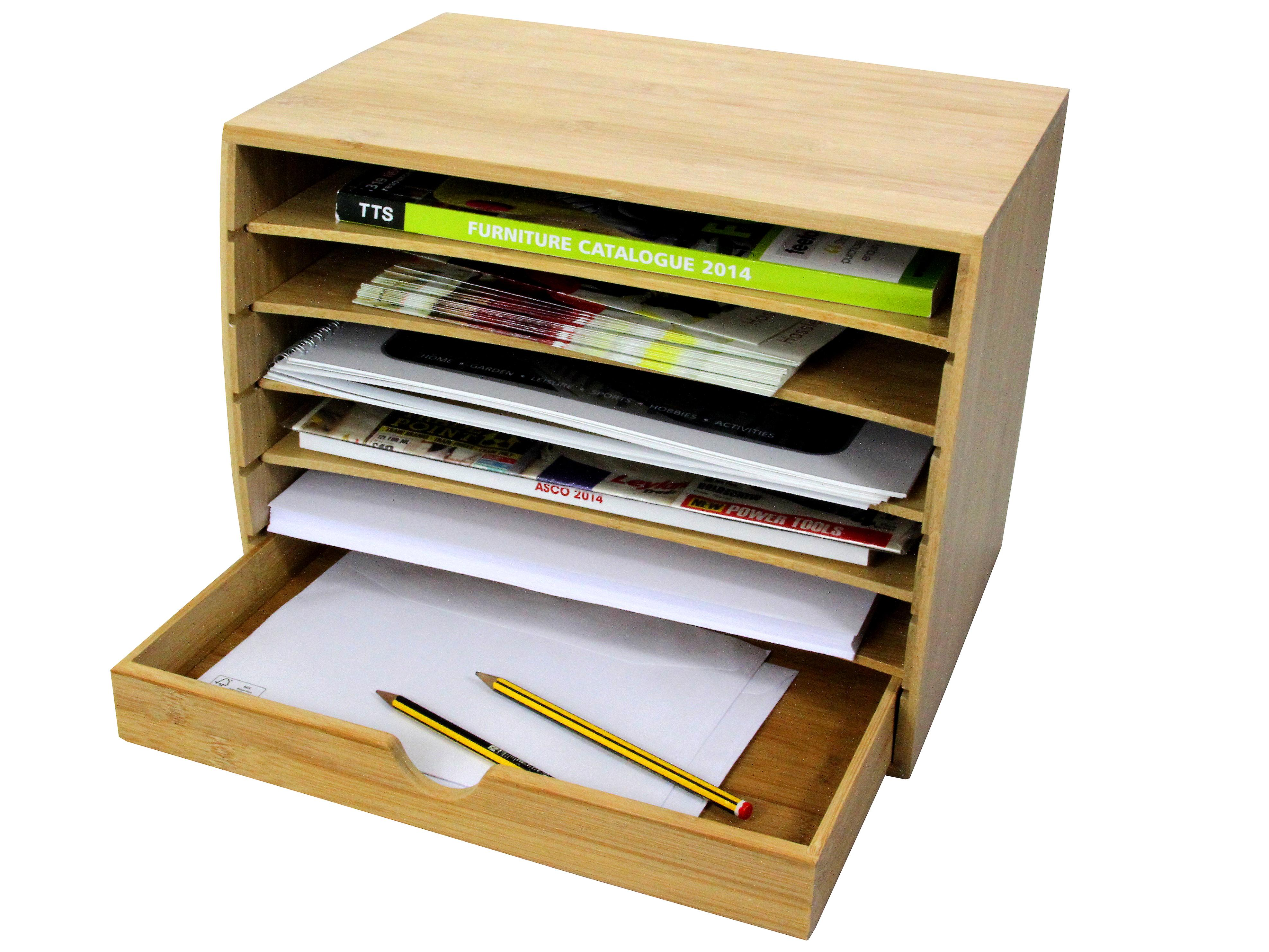 Woodquail Bamboo Cube Literature Sorter with Drawer A4 Document Organiser
