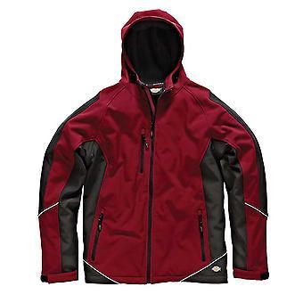 Dickies Mens arbetskläder två tonar Softshell jacka röd svart JW7010R