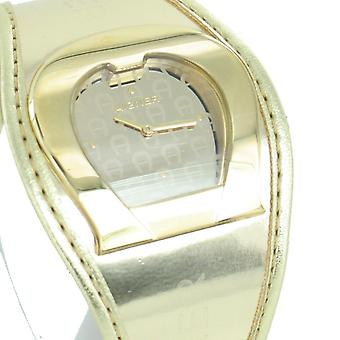Aigner ladies watch wristwatch leather band gold tone A41213