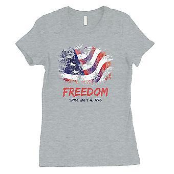 Libertà dal grigio Womens Tee vestito carino grafica 4 luglio per le donne