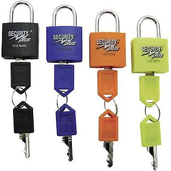 Security Plus V 22-4 hangslot 4-delige set Neon geel, blauw, oranje, zwart Key lock