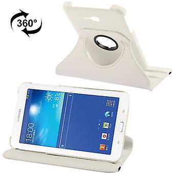 Ceniza de bandeja de cubierta de la PU (flip Cruz) para Samsung Galaxy tab 3 7.0 Lite T110 / T111 blanco