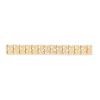 14k Yellow Gold Solid Polished Fold over 15mm Nugget Bracelet Box Clasp Jewely Gifts for Women - Comprimento: 7 a 8