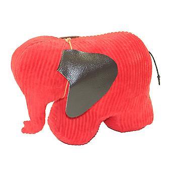 Red Jumbo Cord Elephant Doorstop by Monica Richards