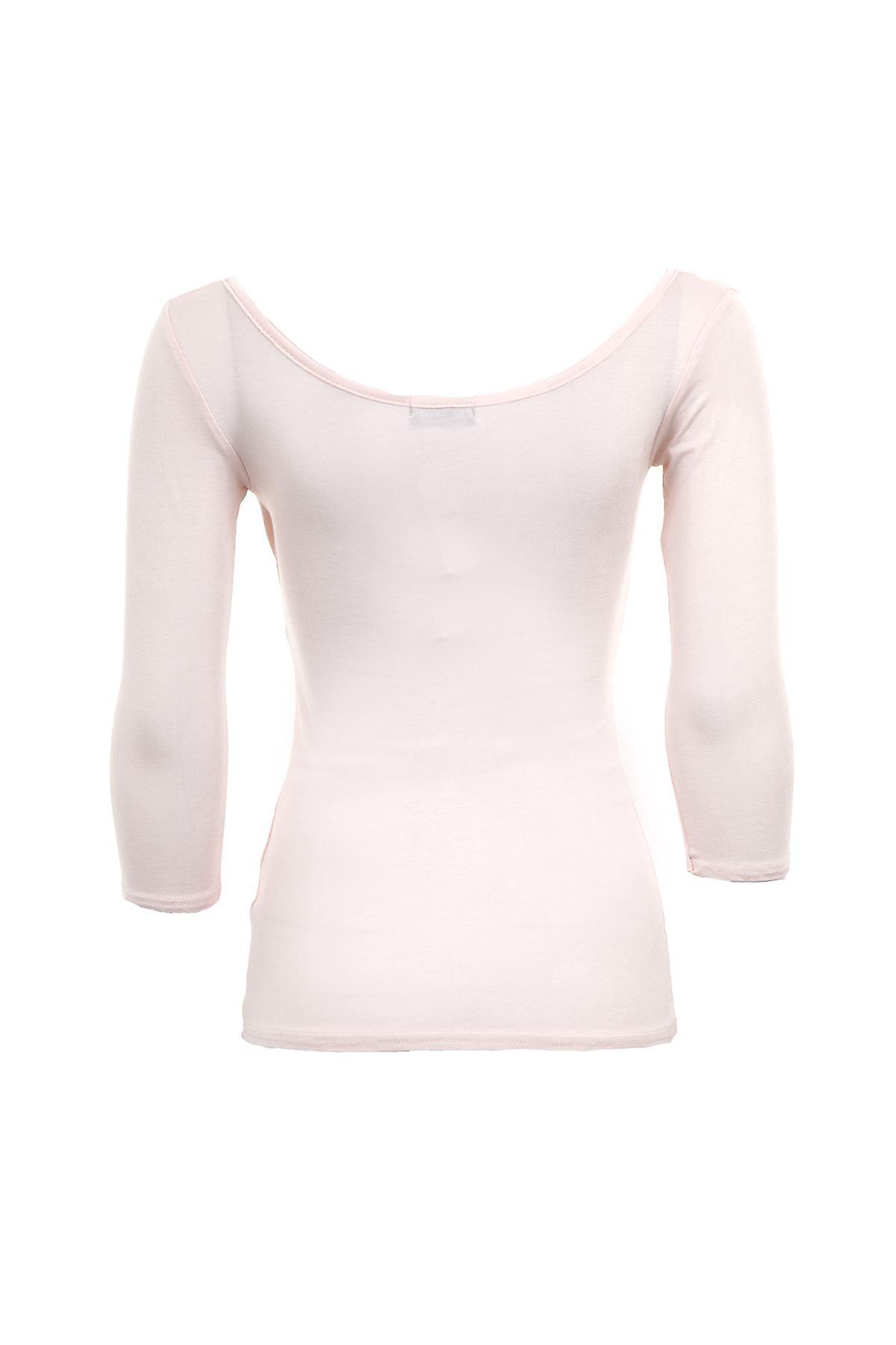 Uusi naisten 3/4 hihat V riimu kaulan kerännyt naisten pusero toppi