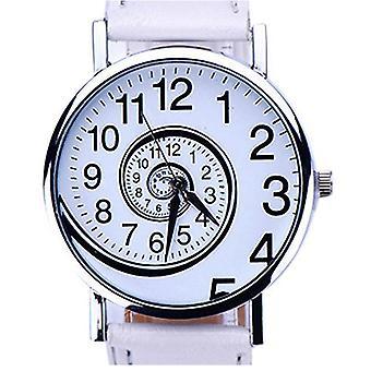 Prateado branco tempo movendo vez Spin relógios analógicos Mens Watch