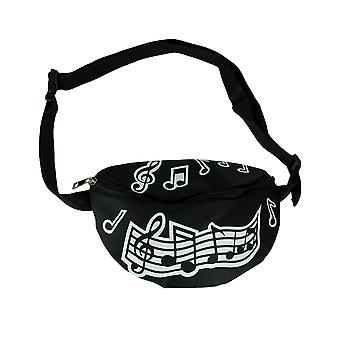 Black and White Music Notes Adjustable Fanny Pack