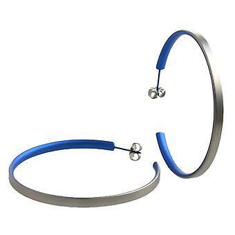 Orecchini a cerchio grande titanio TI2 - Blu Navy