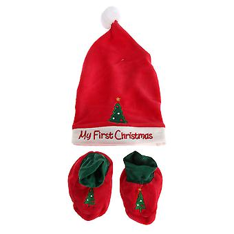 Nursery Time Baby Girls/Boys Christmas Hat And Bootie Set