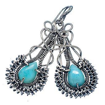 """Les boucles d'oreilles Larimar 2 1/4""""(925 Sterling Silver) - la main Boho Vintage bijoux EARR325236"""