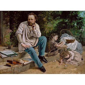 Pierre-Joseph Prud ' Hon og hans børn, Gustave Courbet, 50x40cm