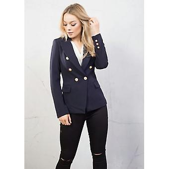 Military Style Tailored Blazer Jacket Navy Blue