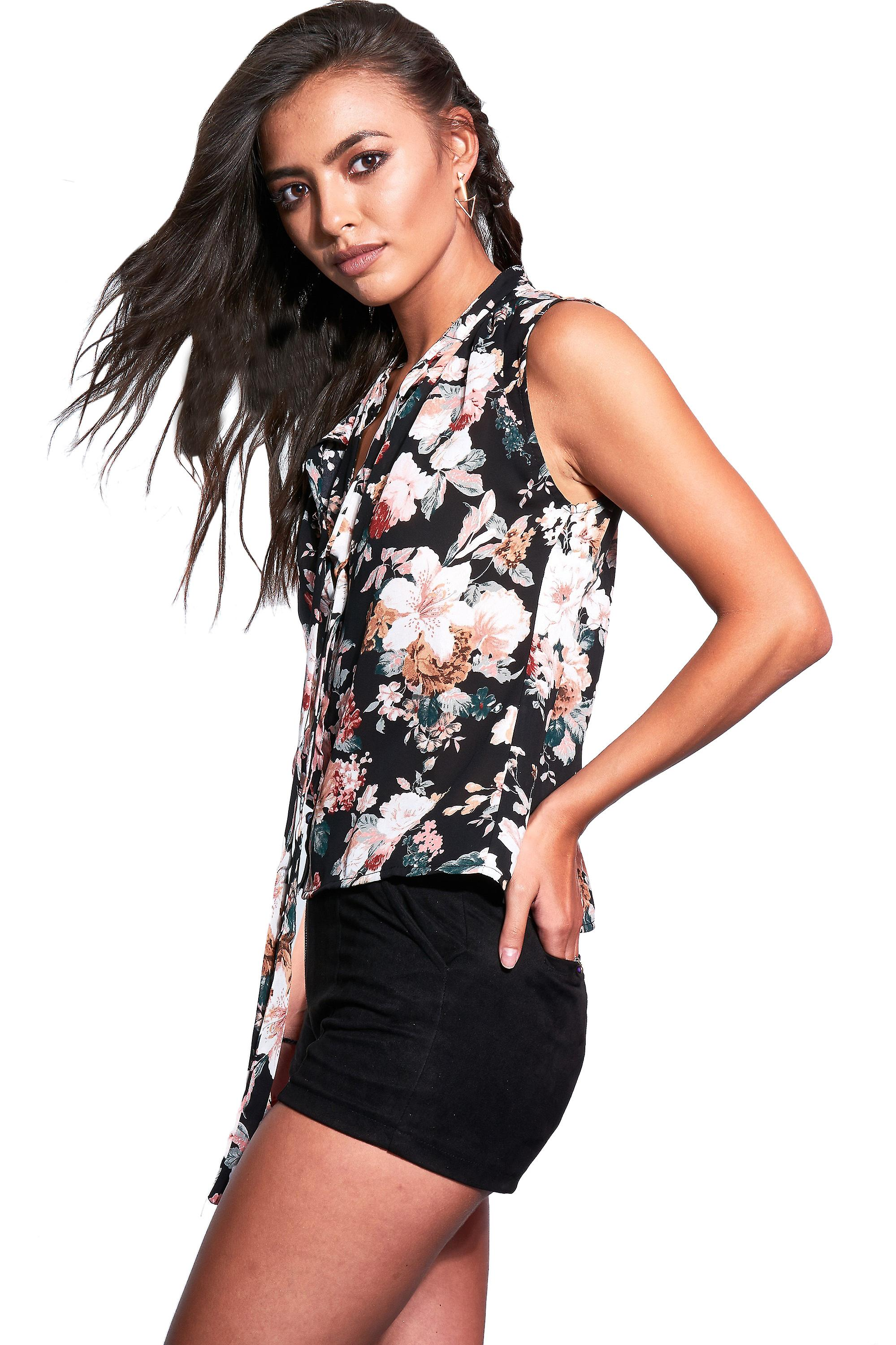 Style London Black Floral Sleeveless Blouse With Tie Neckline