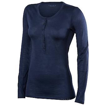 Camisa de manga comprida de lã seda Falke - espaço azul