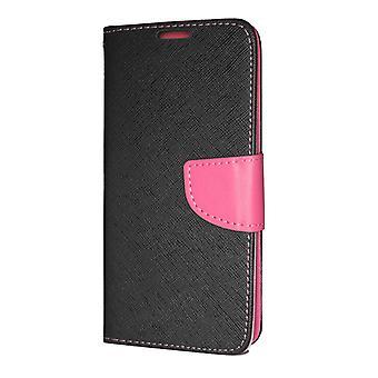 Samsung Galaxy J4 PLUS Brieftasche Fall Fancy Fall schwarz-rosa