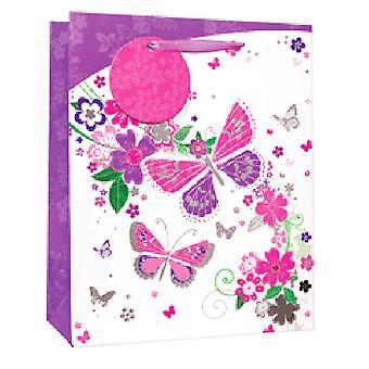 Simon Elvin Butterflies/Flowers Glitter Gift Bags (Pack of 6)
