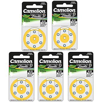 30-pack Camelion Hearing Aid Battery Type 10,  Yellow