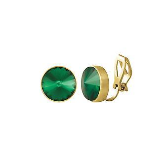Eeuwige collectie schat Emerald Green Crystal Gold Tone Stud Clip op oorbellen