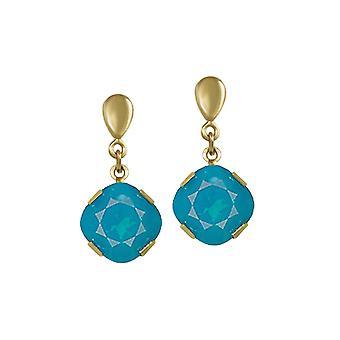 Eternal Collection Flair Caribbean Blue Itävallan Crystal Gold Tone Drop lävistetty korva korut