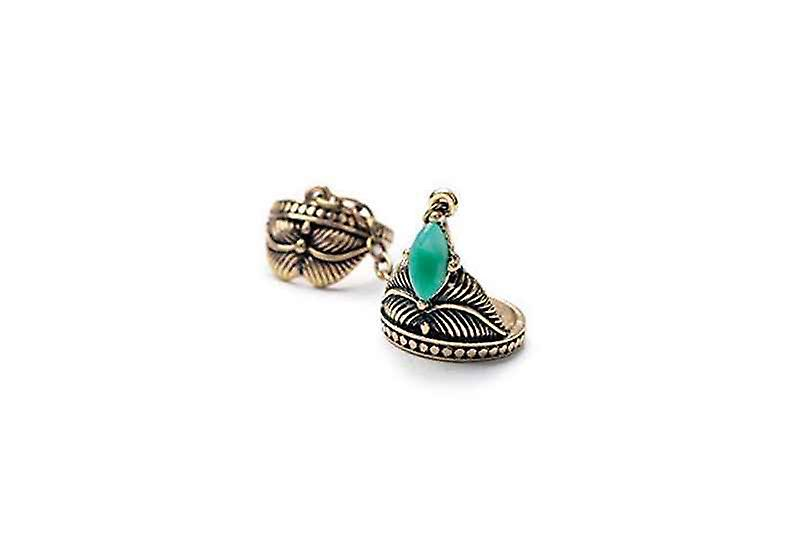 Boho Vintage Two Finger Stackable Unchained Double Ring