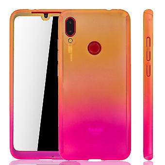 Xiaomi Redmi Note 7 Handy-Hülle Schutz-Case Full-Cover Panzer Schutz Glas Gelb / Pink