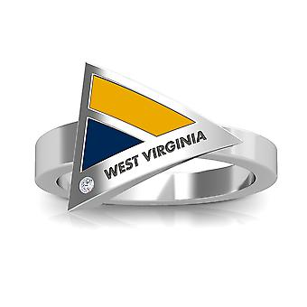 West Virginia University Engraved Sterling Silver Diamond Geometric Ring In Yellow and Blue