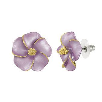 Éternelle Collection Pansy émail lilas Gold Tone boucles d'oreilles