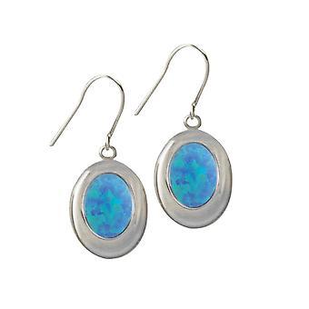 Eeuwige collectie Idaho licht blauwe opaal zilveren Toon Drop doorstoken oorbellen (MM)