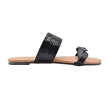 dELiAs Girls Fashion Sandals Little Kid Slide Flip Flops With Braided Metalic And Glitter Strap
