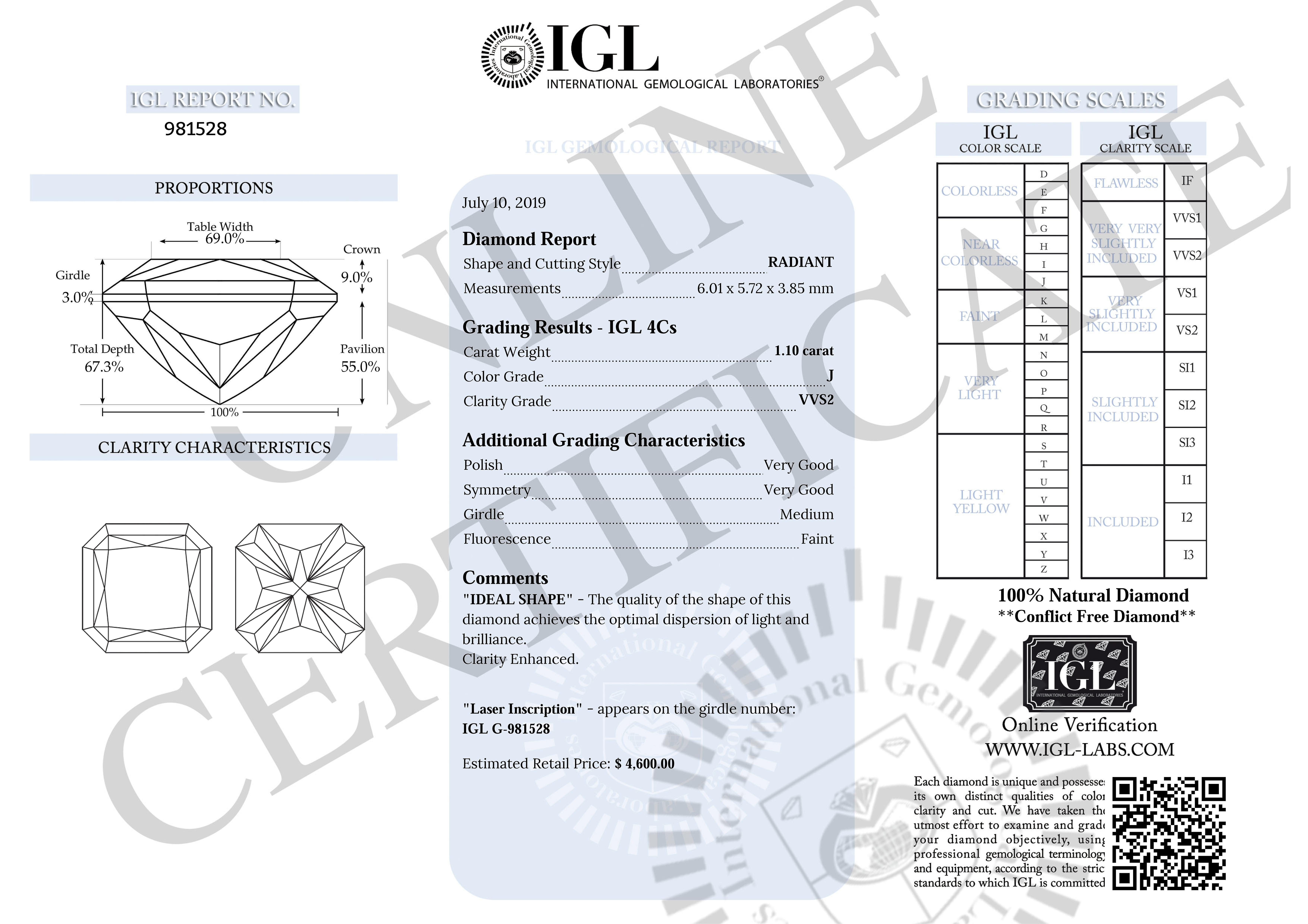 Certified 1.10 Carat J VVS2 Radiant Enhanced Natural Loose Diamond 6.01X5.72mm