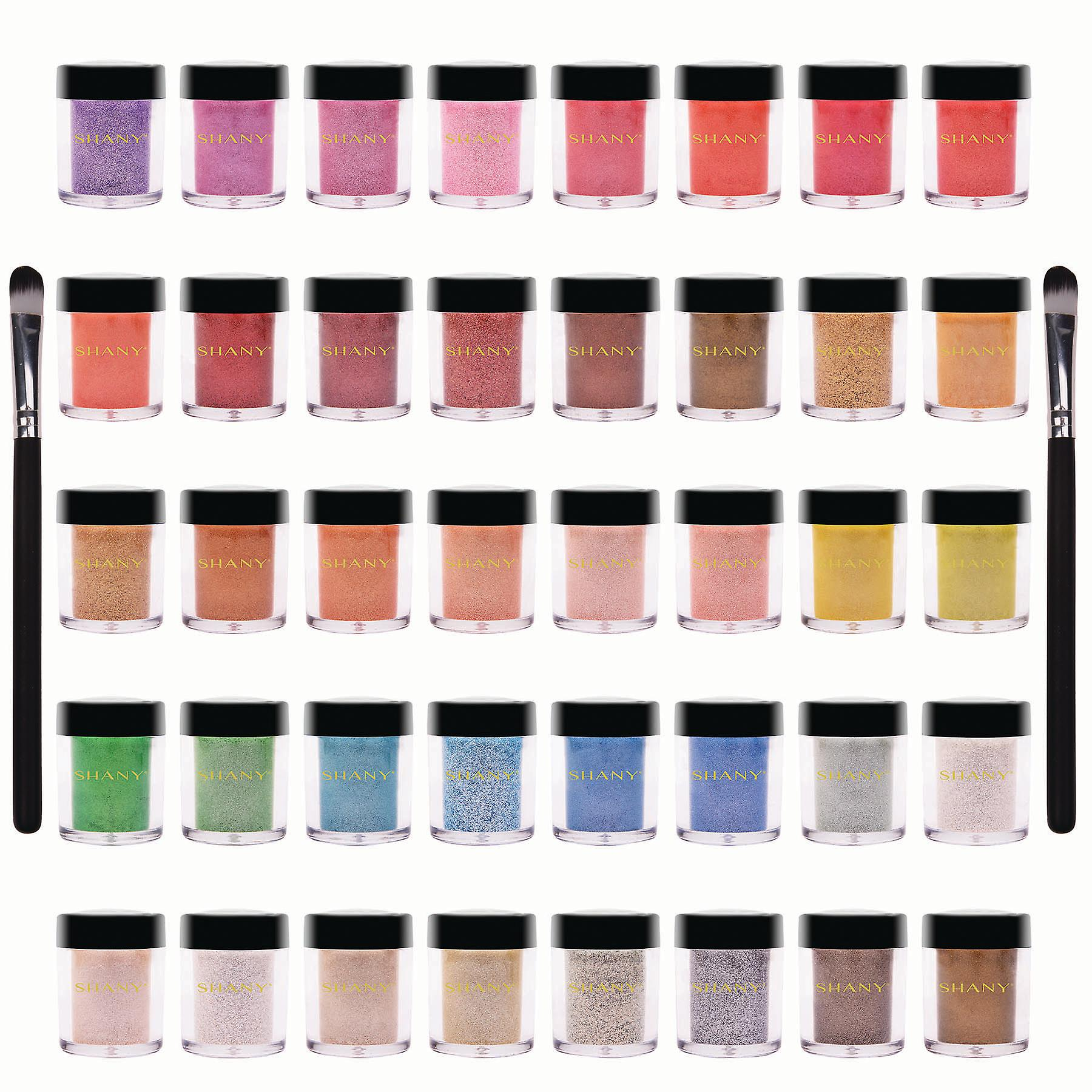 SHANY Loose Pearl Eye Shadow Glitter in Favorite Colors with Two Shadow Brushes - Set of 40 colors