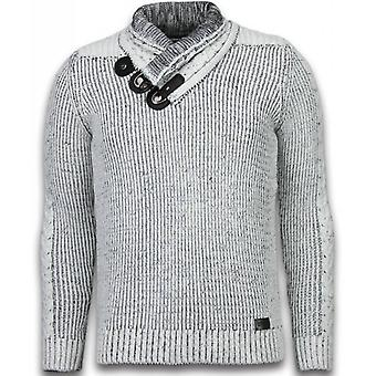 Knitted Sweater - Scarf Collar Buttons - Grey