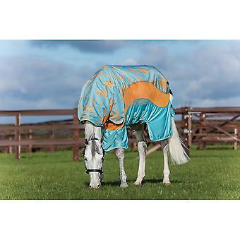 Amigo Horseware Amigo 3-în-1 Evolution Netratate Disc Fata Fly Rug - Aqua / portocaliu / aqua