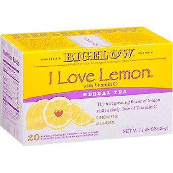 Bigelow I Love Lemon Herbal Tea 20 Tea Bag Box