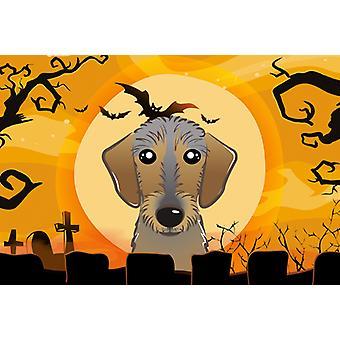 Carolines skatter BB1791PLMT Halloween Wirehaired Dachshund stoff underlag