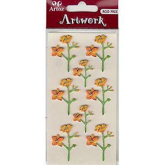 Yellow Orchids Craft Embellishment By Artoz