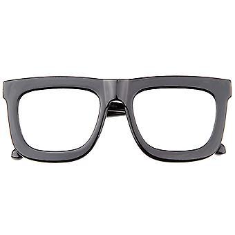 High Fashion hoorn omrande Flash spiegel vlakke Lens vet vierkante zonnebril 65mm