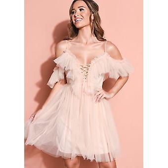 Frill kylmä olkapää Bardot Tylli Mini mekko alaston vaaleanpunainen
