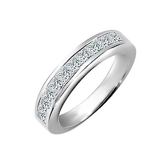 Jewelco London Solid 18ct White Gold Channel Set Princess G VS 1ct Diamond Dainty Band Eternity Ring 3.5mm
