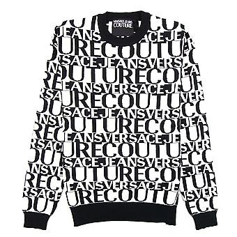 Versace Jeans Couture All Over Print Rundhals Brief Pullover weiß/schwarz